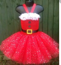 girl's red and white Christmas tutu dress null
