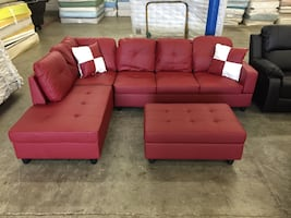 red leather corner couch with chaise