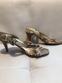 pair of brown leather open toe ankle strap heels Toronto, M2J 1L2