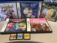 DS Nintendo games  Tangled cars. Bejeweled brain age tinker bell l love horses gunpey. Sims2 and duck amuck  $5 each or $20 all  Free delivery for all of them. .