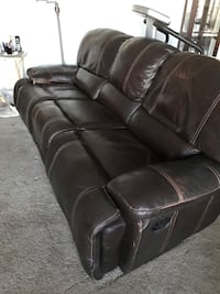 7' brown leather couch with two built in recliners Lancaster, 93535
