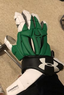 Green/black/white under armour combat 2 lacrosse gloves