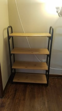 Sturdy metal and wooden shelf