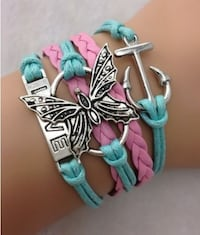 New Infinity Love Butterfly Anchor Leather Charm Bracelet plated Silver Calgary
