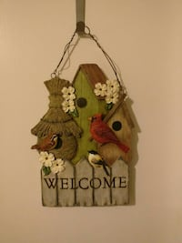 birds and birdhouse wooden hanging welcome signage Plainfield, 07060