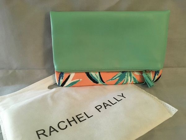 Clutch purse in teal and coral