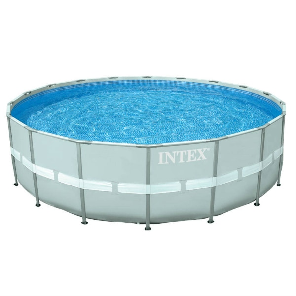 Intex above ground pool with original pump and a salt water pump. Big deck  storage container included!