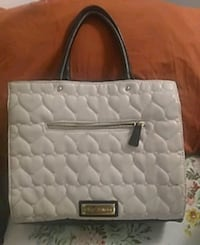 quilted white and black leather tote bag Vancouver