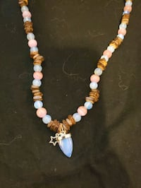 Moonstone, wood and pink glass bead necklace Centreville, 20121