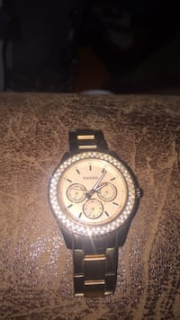 gold fossil link bracelet round chronograph watch Pauls Valley, 73075