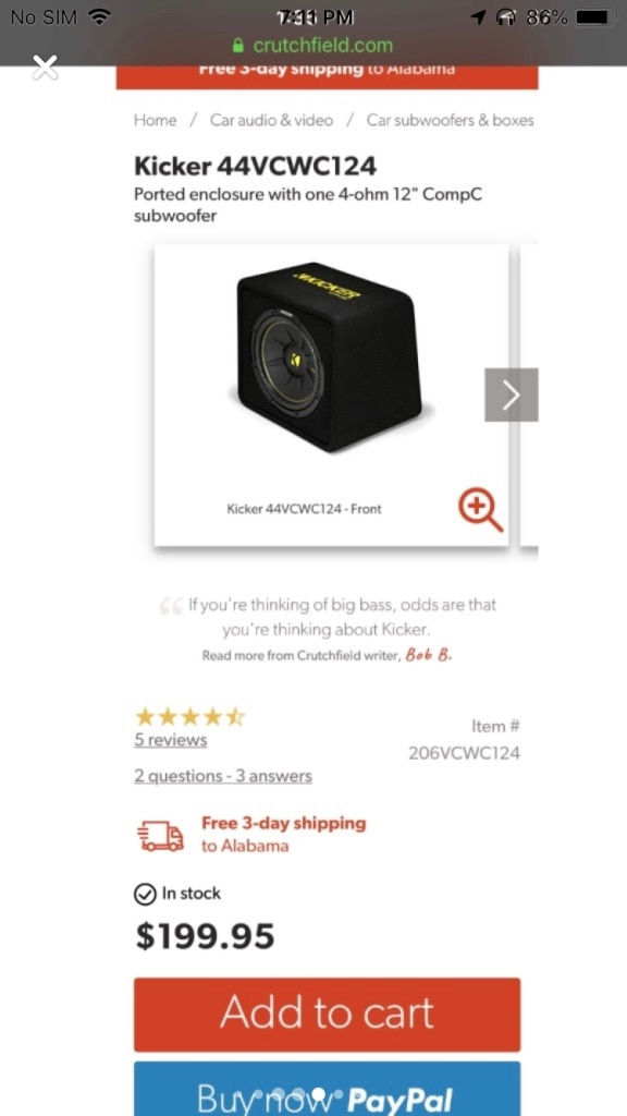Photo 12 inch kicker subwoofer and Amp