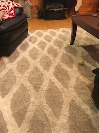 Cream and grey/beige 8fx11f- bought at Lowes in July. Love the rug, but I have boys...