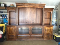brown wooden TV hutch with cabinet San Diego, 92124