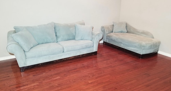 Fantastic H M Richards Light Blue Microfiber Couch And Chaise Lounge Set Gmtry Best Dining Table And Chair Ideas Images Gmtryco