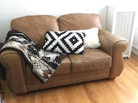 Comfy Tan Leather Loveseat Chicago, 60657