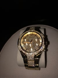 Guess Crystal Accent Gold-Tone Stainless Steel Bracelet Watch 44mm  Odessa, 79762