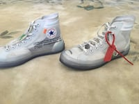 Pair of used,but taken care of, OffWhite converse all star high-top sneakers OffWhite Zip Tie included Cotati, 94931