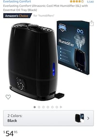 Brand New Sealed Cool Mist Humidifier (6L) with Essential oil tray