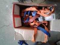 pair of orange-and-blue Nike basketball shoes