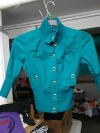 teal button-up long-sleeved shirt Chicago, 60641