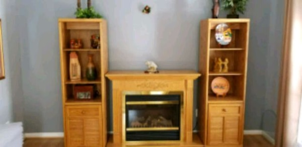 Electric fireplace with 2 shelves cabinets