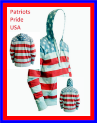 S-XXL Patriots Pride USA Stars N Stripes Hoodie Full Zip