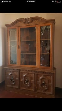 brown wooden framed glass display cabinet Edmonton, T6C 2B8