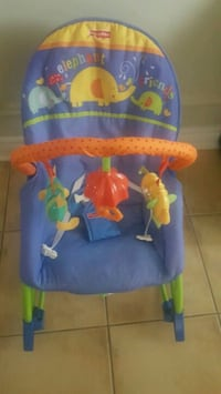 blue and yellow Fisher Price bouncer seat Mississauga, L5M 7E8