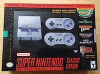 NEW SUPER NINTENDO Entertainment System CLASSIC EDITION Below are the games that come with the system:   -Contra III: The Alien Wars   -Donkey Kong Country   -EarthBound   -Final Fantasy III   -F-ZERO   -Kirby Super Star   -Kirby's Dream Course   -The Leg