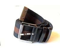 Auth GUCCI Black Brown Leather Fabric Belt 85/34 New York, 10023