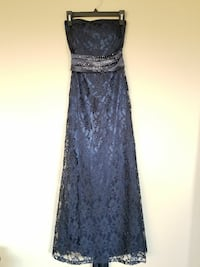 Ball gown in navy, satin-lace, Swarovski stones