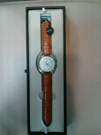 round silver analog watch with brown leather strap Burtonsville, 20866
