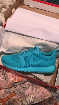pair of teal Nike running shoes with box