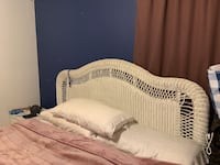 White wicker bed frame. King size Linden, 07036