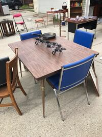 Blue vinyl and metal chairs $9.each