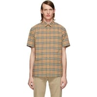 Women Burberry Beige Check George Short Sleeve Shirt