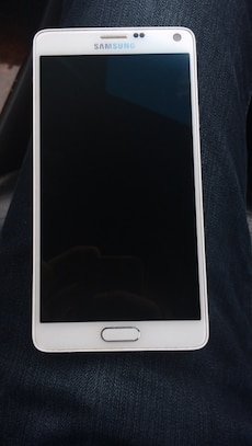 white Samsung android smartphone
