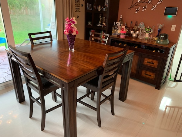 Astounding Dining Room Table With Bar Interior Design Ideas Philsoteloinfo