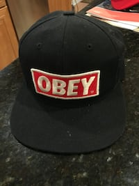Black, white, and red obey fitted cap Gaithersburg, 20878