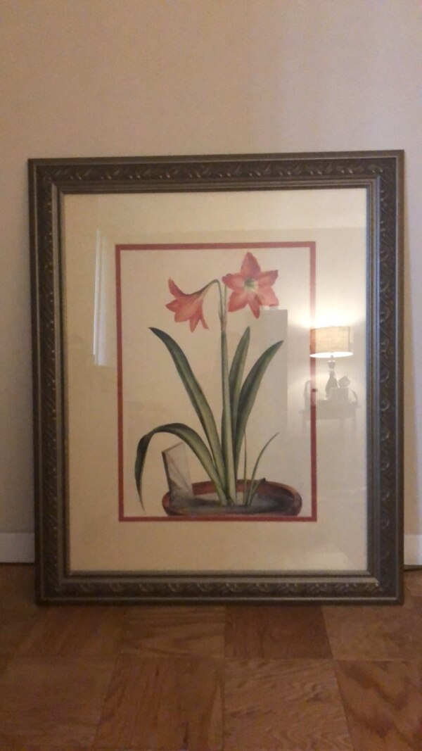 Red petaled flower painting with black wooden frame