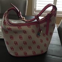 Pink-and-grey monogrammed dooney and bourke leather hobo bag