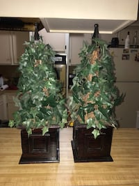 """Pair of Wooden Box Ivy Trees Metal Accent 20"""" Tall Pasadena, 77503"""