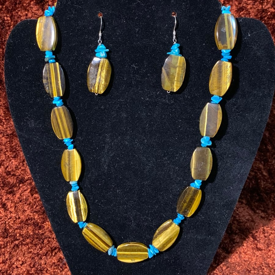 Genuine Tigers Eye Turquoise Bead Necklace with Sterling Silver Clasp 10292461-11f4-42a7-93ce-a2095f45c78e