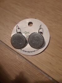 round silver-colored earrings