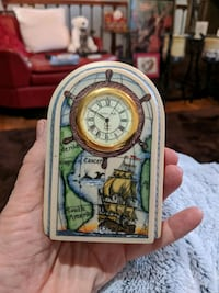 Hand sculpted and painted small clock Stafford Courthouse, 22556