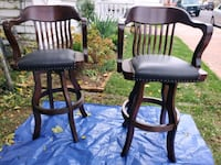 Cherry Wood & Leather Swivel Barstools  Winchester, 22601