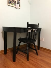 black wooden table with chair null
