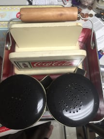 Napkin holder and carrier and Coca-Cola salt-and-pepper