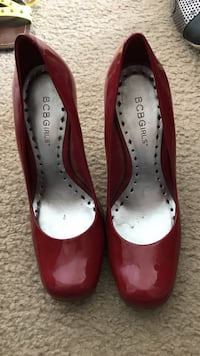Red-and-grey bcb girls patent leather pumps 6