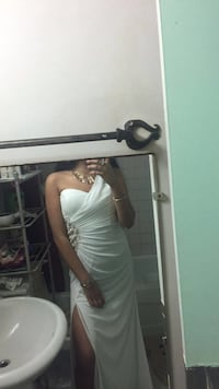 White prom dress with gold detailing and leg slit Toronto, M4X